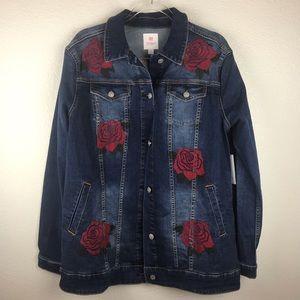 NWT LuLaRoe Roses Jaxon Denim Jacket Size XL.